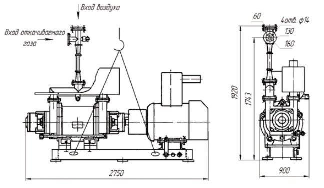 Агрегат вакуумный водокольцевой АВВ-25 чертеж