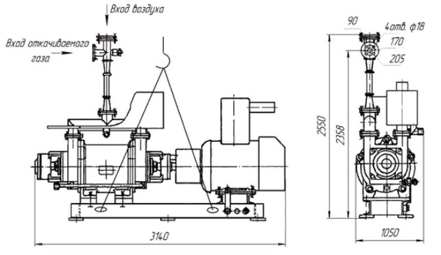 Агрегат вакуумный водокольцевой АВВ-50 чертеж