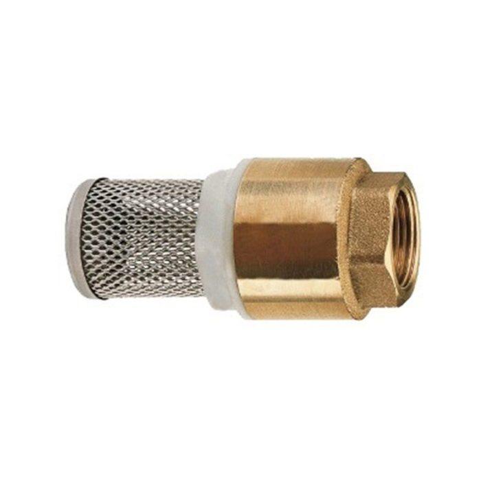 Клапан латунный приёмный пружинный Ду 15 муфтовый с нержавеющей сеткой - цена, заказать Трубопроводная арматура