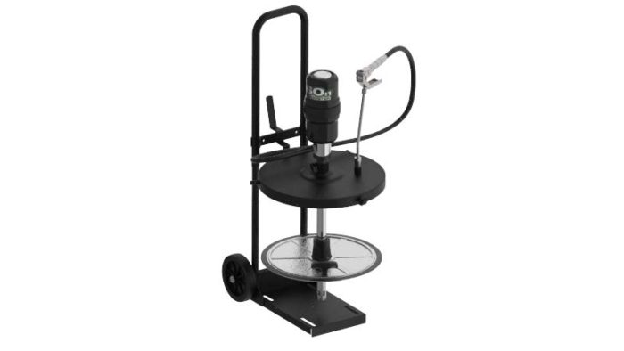 Мобильный пневматический солидолонагнетатель с насосом 60:1 для бочек 12-16 кг на телеге - цена, заказать Нагнетатели густых смазок Piusi
