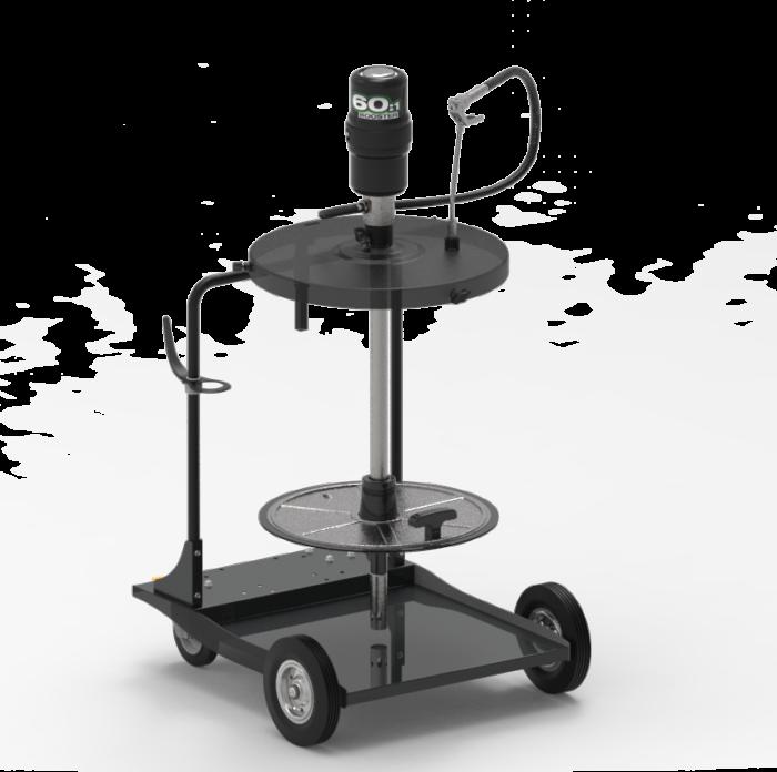 Мобильный пневматический солидолонагнетатель с насосом 60:1 и катушкой для бочек 185 кг на телеге - цена, заказать Нагнетатели густых смазок Piusi