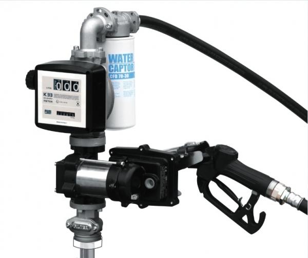 Drum EX50 K33 12V DC ATEX - Бочковой ком-кт для бензина: э/насос, ф-р, мех.счет., мех.пист., 50 л/м - цена, заказать Топливораздаточные модули Piusi
